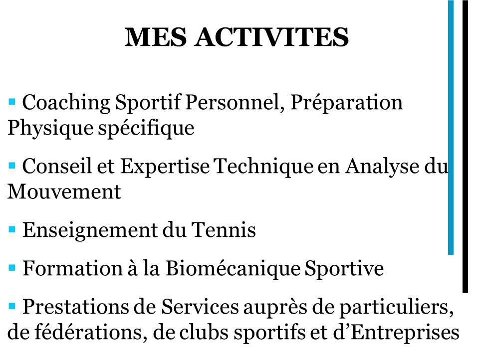 MES ACTIVITES Coaching Sportif Personnel, Préparation Physique spécifique Conseil et Expertise Technique en Analyse du Mouvement Enseignement du Tennis Formation à la Biomécanique Sportive Prestations de Services auprès de particuliers, de fédérations, de clubs sportifs et dEntreprises