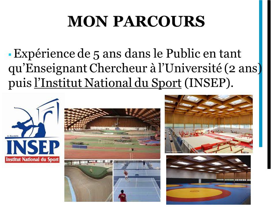 MON PARCOURS Expérience de 5 ans dans le Public en tant quEnseignant Chercheur à lUniversité (2 ans) puis lInstitut National du Sport (INSEP).
