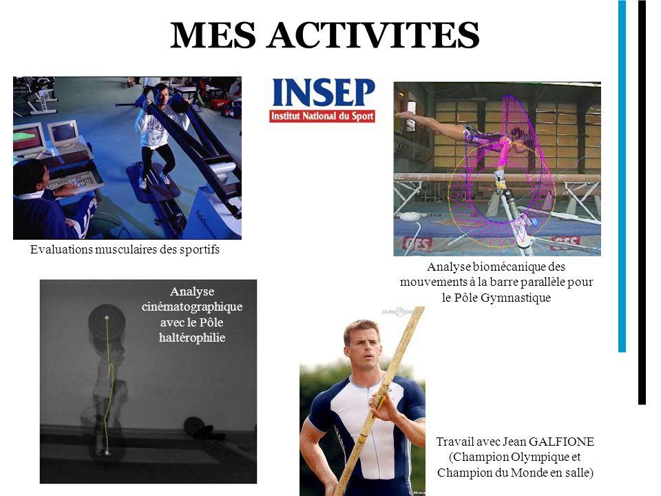 MES ACTIVITES Evaluations musculaires des sportifs Analyse cinématographique avec le Pôle haltérophilie Analyse biomécanique des mouvements à la barre
