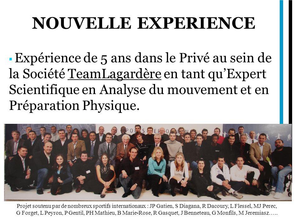 NOUVELLE EXPERIENCE Expérience de 5 ans dans le Privé au sein de la Société TeamLagardère en tant quExpert Scientifique en Analyse du mouvement et en Préparation Physique.