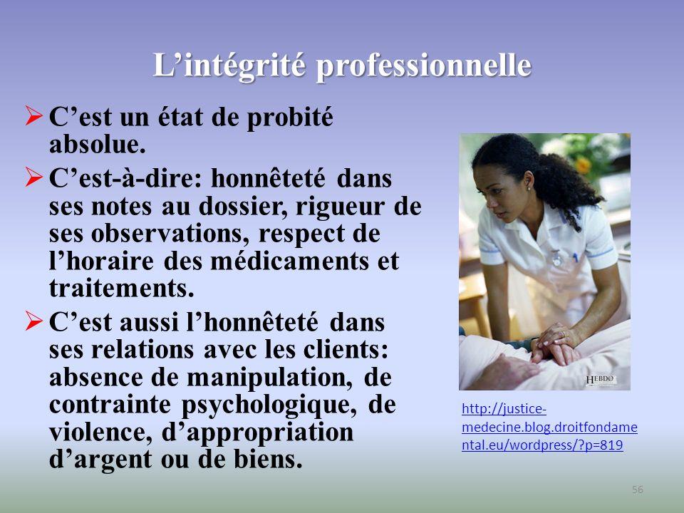 La maîtrise de soi au plan professionnel (1) Cest la capacité dune infirmière de demeurer efficace au travail tout en étant ouverte à la situation et à ses propres émotions.