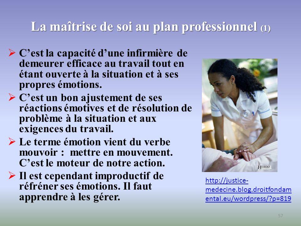 La maîtrise de soi au plan professionnel (2) Si létudiante se sent dépassée par ses émotions, il lui faut réaliser quelle est en sympathie avec le client et quelle se laisse emporter dans la situation.