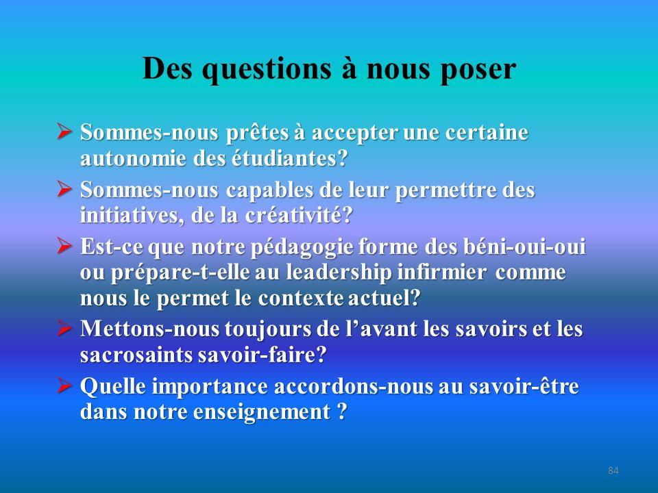 Conclusion (1) Nous lavons vu, le savoir-être infirmier est important pour le client, pour linfirmière et pour notre profession.