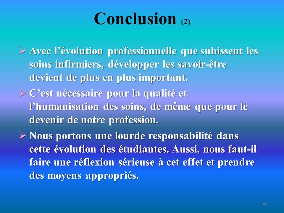Conclusion (3) Les savoirs et les savoir-faire peuvent sacquérir ou se bonifier avec lexpérience, mais si on ne les a pas acquis lors de la formation, pour ce qui est des savoir-être, cest une cause désespérée.