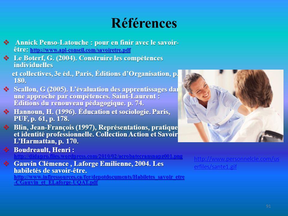 Références Annick Penso-Latouche : pour en finir avec le savoir- être: http://www.apl-conseil.com/savoiretre.pdf Annick Penso-Latouche : pour en finir