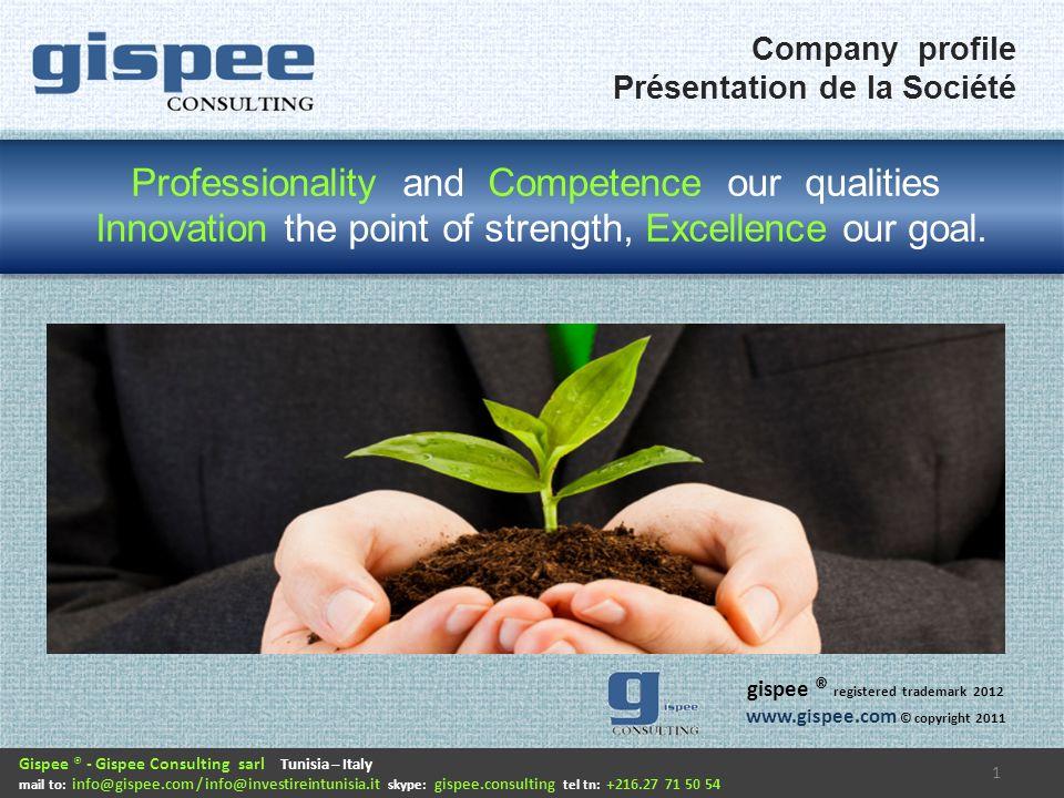 Gispee consulting est une société de consulting fondée à Turin, en Italie, avec le but de suivre les projets de réorganisation des entreprises, l amélioration continue et linnovation principalement dans l industrie de production.