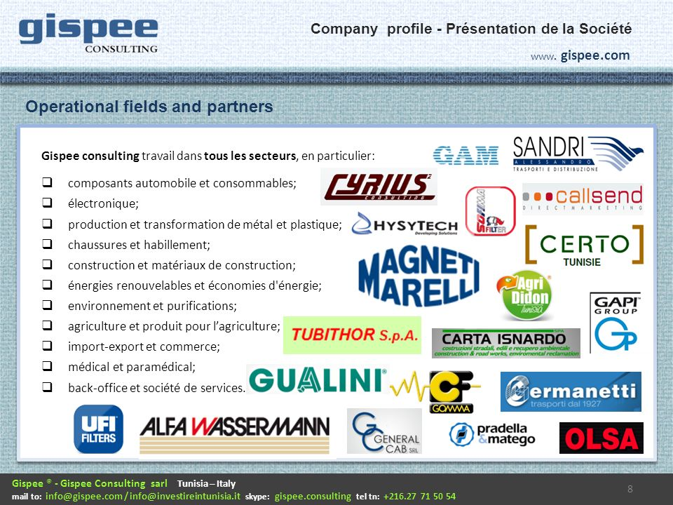 Where we are and how to contact us Contact Us.9 HQ GISPEE CONSULTING SARL 23, av.