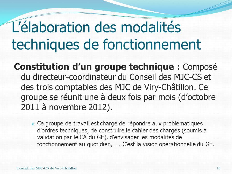 Lélaboration des modalités techniques de fonctionnement Constitution dun groupe technique : Composé du directeur-coordinateur du Conseil des MJC-CS et des trois comptables des MJC de Viry-Châtillon.