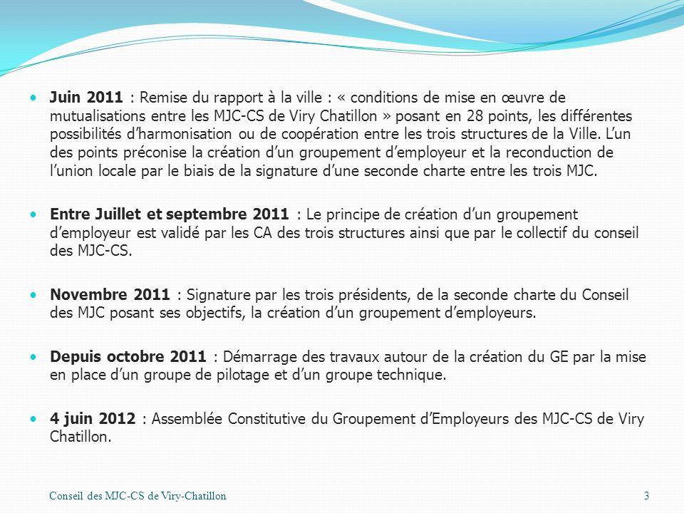 Juin 2011 : Remise du rapport à la ville : « conditions de mise en œuvre de mutualisations entre les MJC-CS de Viry Chatillon » posant en 28 points, les différentes possibilités dharmonisation ou de coopération entre les trois structures de la Ville.