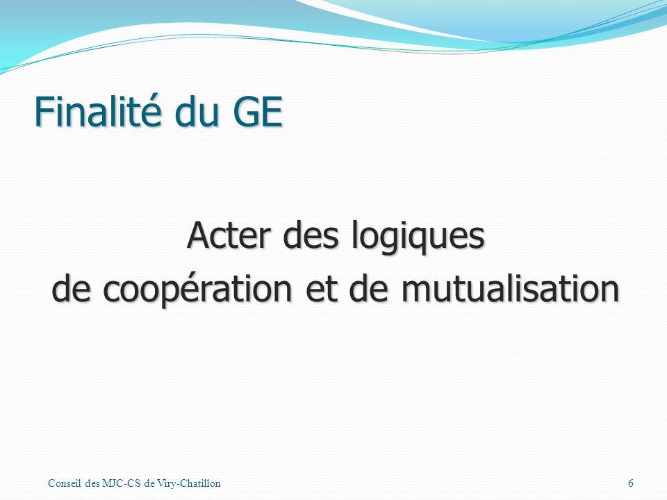 Finalité du GE Conseil des MJC-CS de Viry-Chatillon6 Acter des logiques de coopération et de mutualisation