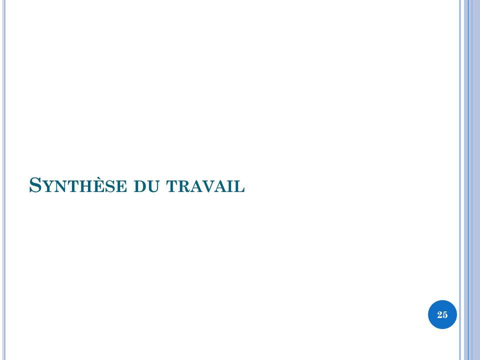 S YNTHÈSE DU TRAVAIL 25