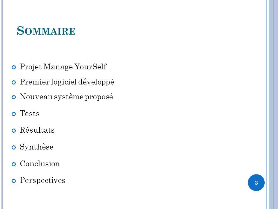 S OMMAIRE 3 Projet Manage YourSelf Premier logiciel développé Nouveau système proposé Tests Résultats Synthèse Conclusion Perspectives