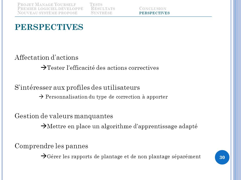 PERSPECTIVES Affectation dactions Tester lefficacité des actions correctives Sintéresser aux profiles des utilisateurs Personnalisation du type de cor