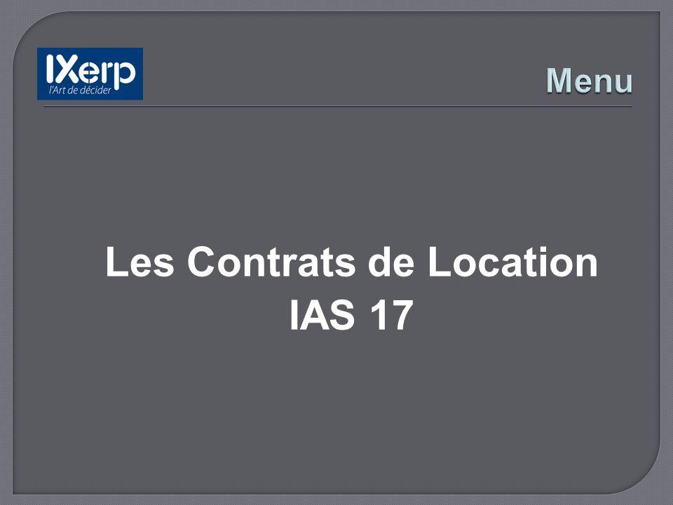 Les Contrats de Location IAS 17