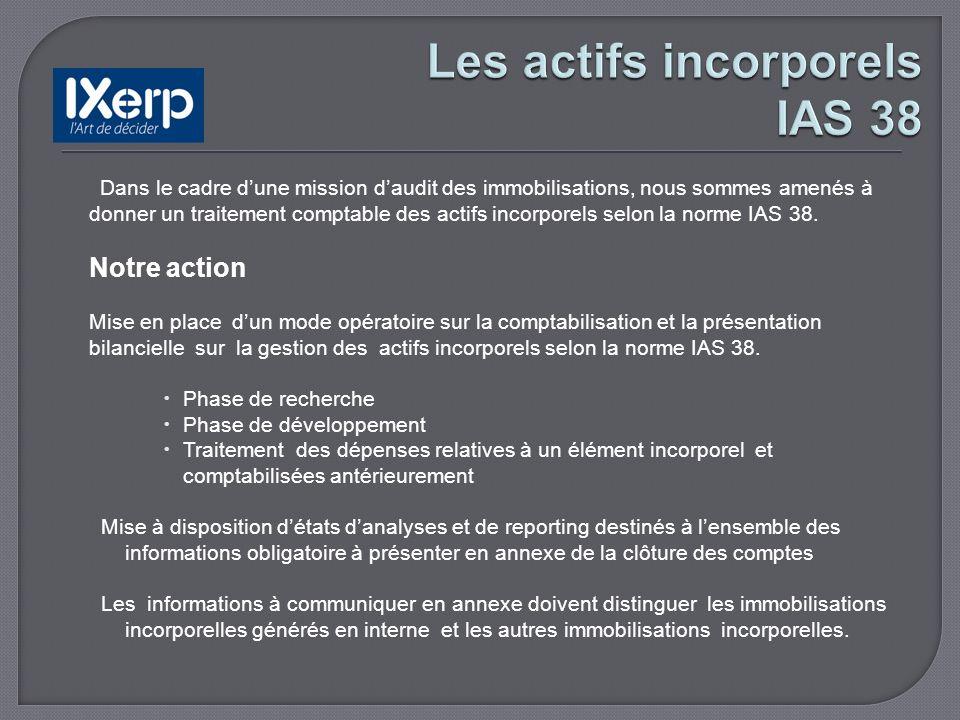 Dans le cadre dune mission daudit des immobilisations, nous sommes amenés à donner un traitement comptable des actifs incorporels selon la norme IAS 38.