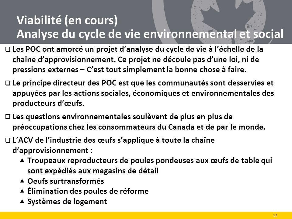 Viabilité (en cours) Analyse du cycle de vie environnemental et social Les POC ont amorcé un projet danalyse du cycle de vie à léchelle de la chaîne d