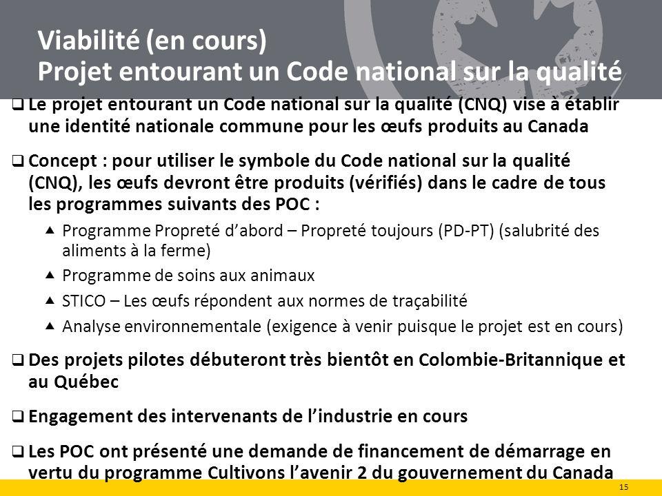 Viabilité (en cours) Projet entourant un Code national sur la qualité Le projet entourant un Code national sur la qualité (CNQ) vise à établir une ide