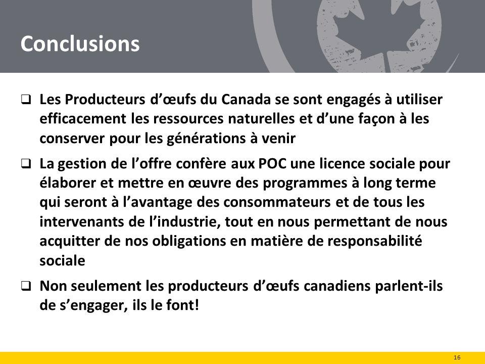 Conclusions Les Producteurs dœufs du Canada se sont engagés à utiliser efficacement les ressources naturelles et dune façon à les conserver pour les g