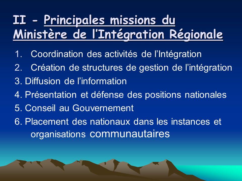 II - Principales missions du Ministère de lIntégration Régionale 1.Coordination des activités de lIntégration 2.Création de structures de gestion de lintégration 3.
