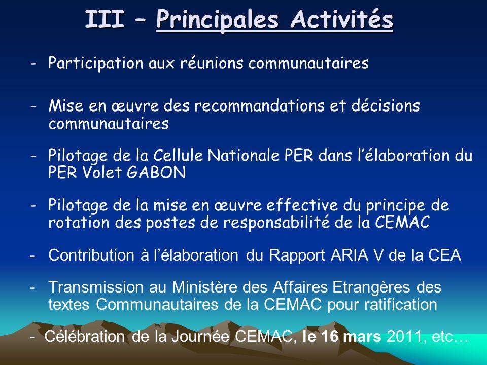 III – Principales Activités -Participation aux réunions communautaires -Mise en œuvre des recommandations et décisions communautaires -Pilotage de la Cellule Nationale PER dans lélaboration du PER Volet GABON -Pilotage de la mise en œuvre effective du principe de rotation des postes de responsabilité de la CEMAC -Contribution à lélaboration du Rapport ARIA V de la CEA -Transmission au Ministère des Affaires Etrangères des textes Communautaires de la CEMAC pour ratification - Célébration de la Journée CEMAC, le 16 mars 2011, etc…