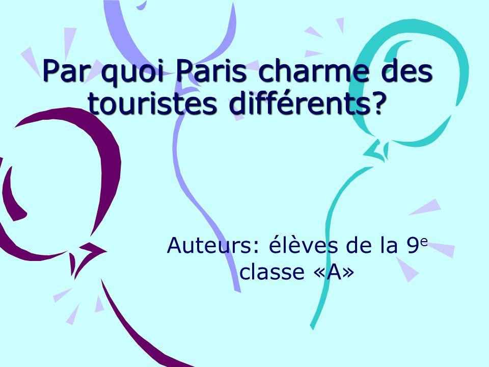 Par quoi Paris charme des touristes différents? Auteurs: élèves de la 9 e classe «A»