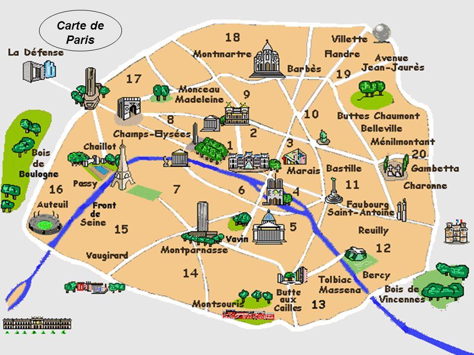 Paris est divisé en 20 arrondissements Carte de Paris