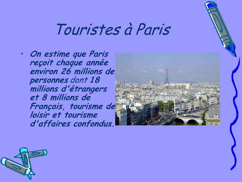 Touristes à Paris On estime que Paris reçoit chaque année environ 26 millions de personnes dont 18 millions d étrangers et 8 millions de Français, tourisme de loisir et tourisme d affaires confondus.