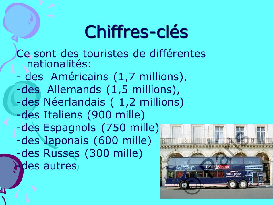 Chiffres-clés Ce sont des touristes de différentes nationalités: - des Américains (1,7 millions), -des Allemands (1,5 millions), -des Néerlandais ( 1,2 millions) -des Italiens (900 mille) -des Espagnols (750 mille) -des Japonais (600 mille) -des Russes (300 mille) -des autres