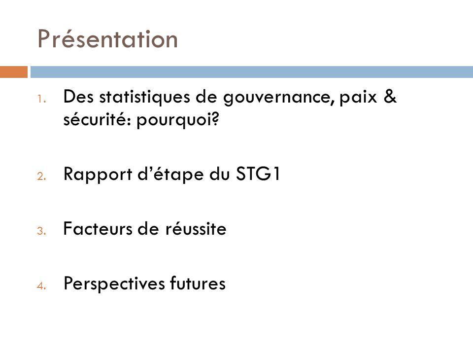 Présentation 1. Des statistiques de gouvernance, paix & sécurité: pourquoi? 2. Rapport détape du STG1 3. Facteurs de réussite 4. Perspectives futures