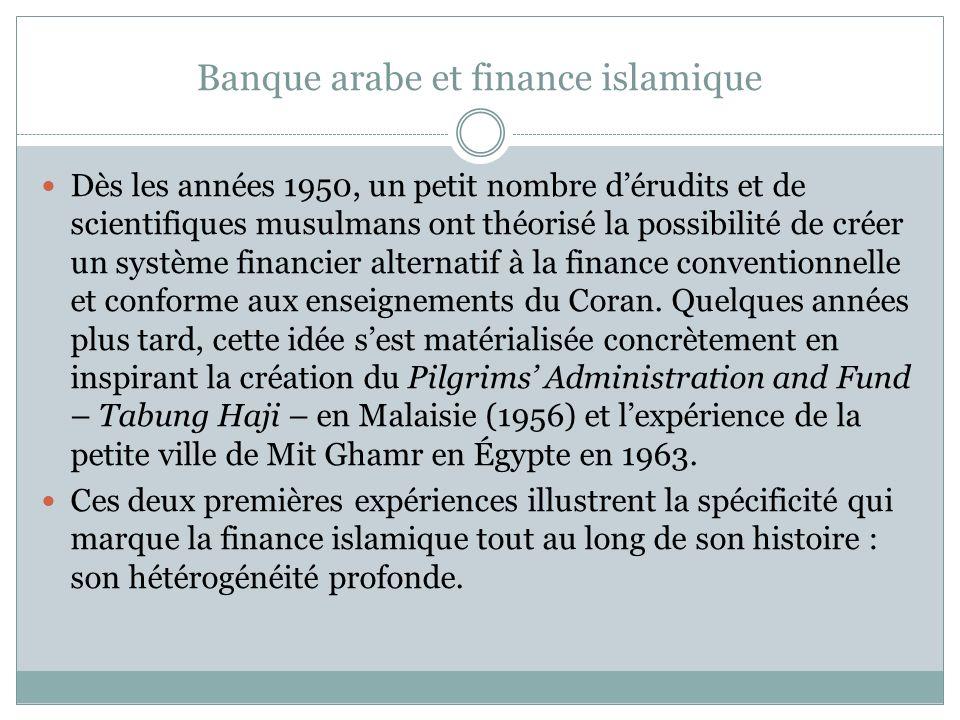 Banque arabe et finance islamique Dès les années 1950, un petit nombre dérudits et de scientifiques musulmans ont théorisé la possibilité de créer un système financier alternatif à la finance conventionnelle et conforme aux enseignements du Coran.