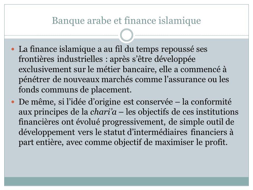 Banque arabe et finance islamique La finance islamique a au fil du temps repoussé ses frontières industrielles : après sêtre développée exclusivement sur le métier bancaire, elle a commencé à pénétrer de nouveaux marchés comme lassurance ou les fonds communs de placement.