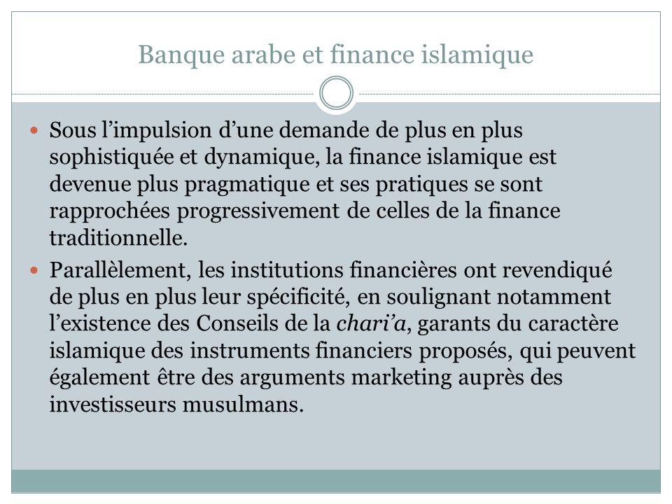 Banque arabe et finance islamique Sous limpulsion dune demande de plus en plus sophistiquée et dynamique, la finance islamique est devenue plus pragmatique et ses pratiques se sont rapprochées progressivement de celles de la finance traditionnelle.