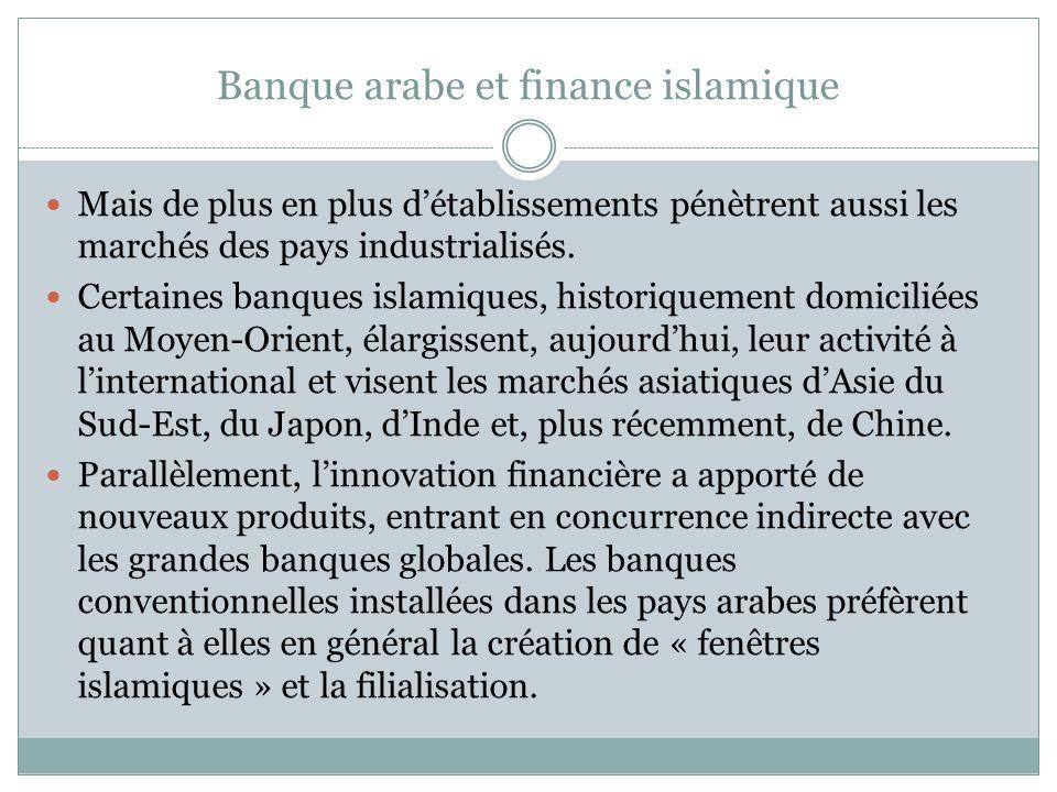 Banque arabe et finance islamique Mais de plus en plus détablissements pénètrent aussi les marchés des pays industrialisés.