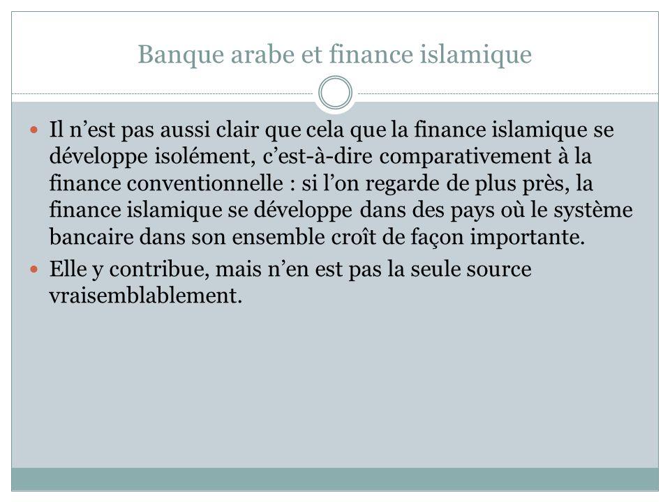 Banque arabe et finance islamique Il nest pas aussi clair que cela que la finance islamique se développe isolément, cest-à-dire comparativement à la finance conventionnelle : si lon regarde de plus près, la finance islamique se développe dans des pays où le système bancaire dans son ensemble croît de façon importante.