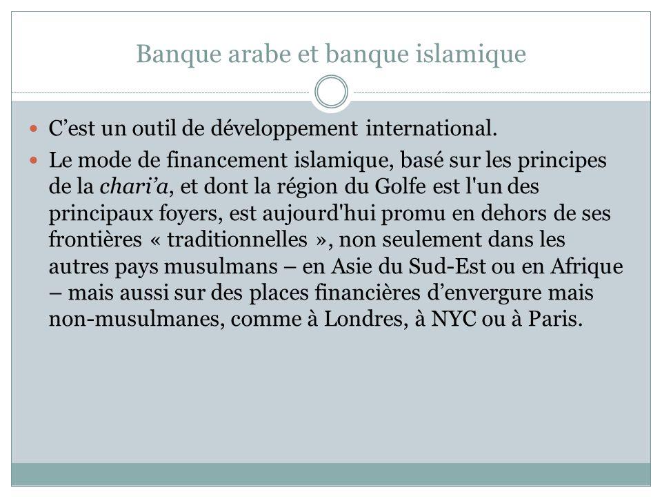 Banque arabe et banque islamique Cest un outil de développement international.