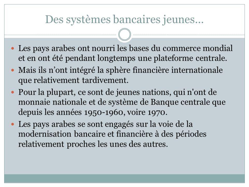 Des systèmes bancaires jeunes… Les pays arabes ont nourri les bases du commerce mondial et en ont été pendant longtemps une plateforme centrale.