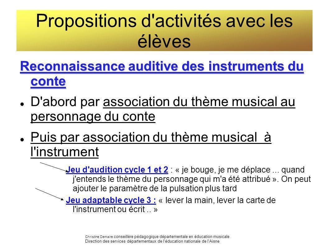 Propositions d'activités avec les élèves Reconnaissance auditive des instruments du conte D'abord par association du thème musical au personnage du co