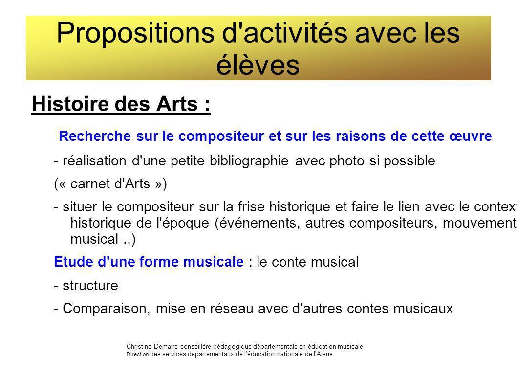 Propositions d'activités avec les élèves Histoire des Arts : Recherche sur le compositeur et sur les raisons de cette œuvre - réalisation d'une petite