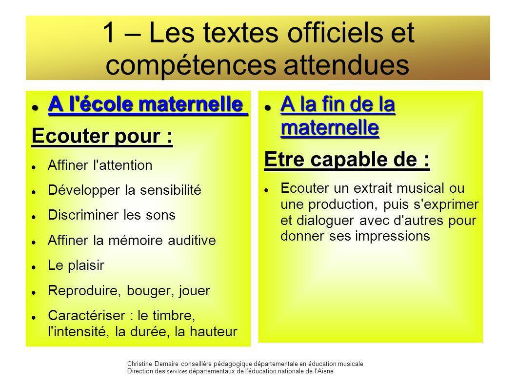 1 – Les textes officiels et compétences attendues A l'école maternelle A l'école maternelle Ecouter pour : Affiner l'attention Développer la sensibili