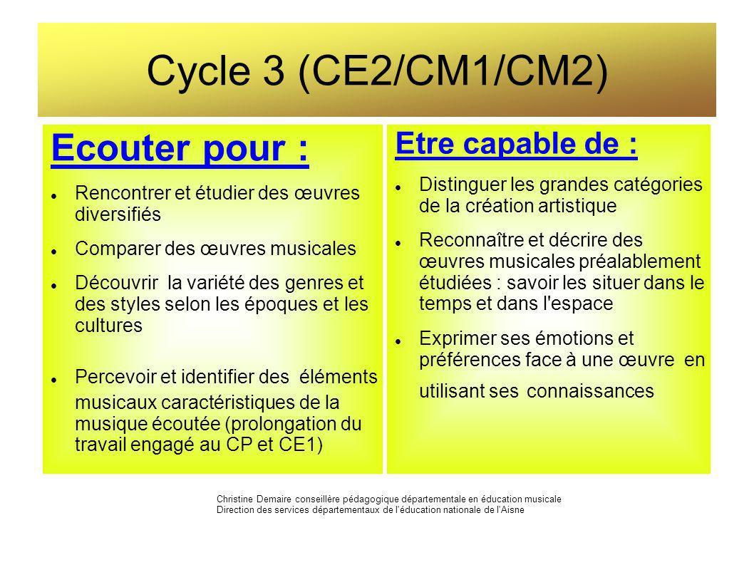 Cycle 3 (CE2/CM1/CM2) Ecouter pour : Rencontrer et étudier des œuvres diversifiés Comparer des œuvres musicales Découvrir la variété des genres et des