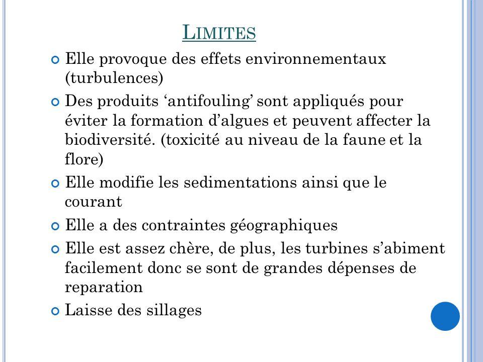 L IMITES Elle provoque des effets environnementaux (turbulences) Des produits antifouling sont appliqués pour éviter la formation dalgues et peuvent a