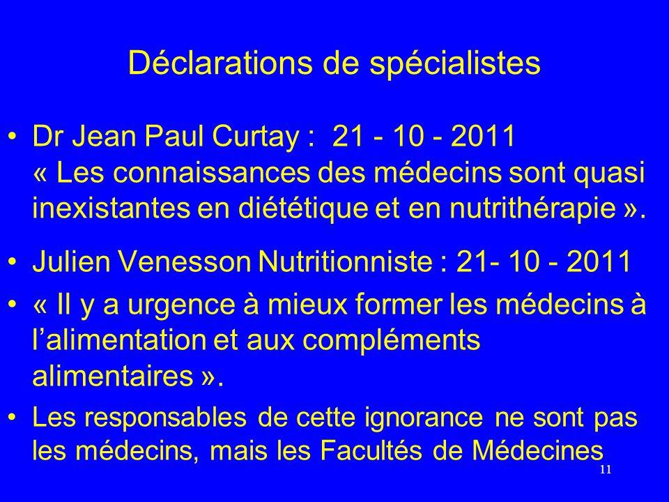 Déclarations de spécialistes Dr Jean Paul Curtay : 21 - 10 - 2011 « Les connaissances des médecins sont quasi inexistantes en diététique et en nutrith