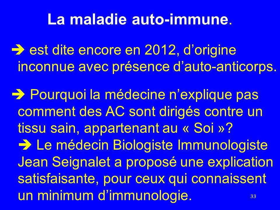 La maladie auto-immune. est dite encore en 2012, dorigine inconnue avec présence dauto-anticorps. Pourquoi la médecine nexplique pas comment des AC so