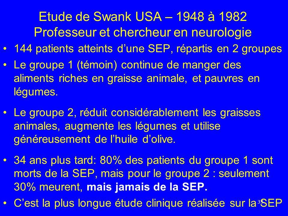 Etude de Swank USA – 1948 à 1982 Professeur et chercheur en neurologie 144 patients atteints dune SEP, répartis en 2 groupes Le groupe 1 (témoin) cont