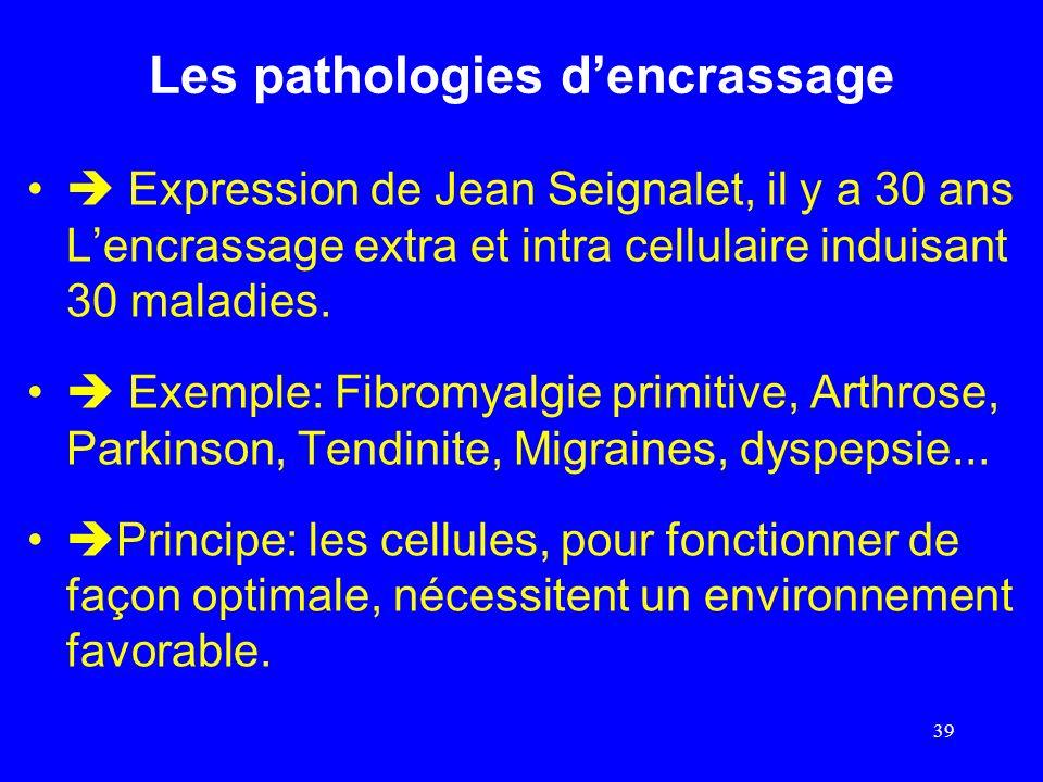 Les pathologies dencrassage Expression de Jean Seignalet, il y a 30 ans Lencrassage extra et intra cellulaire induisant 30 maladies. Exemple: Fibromya