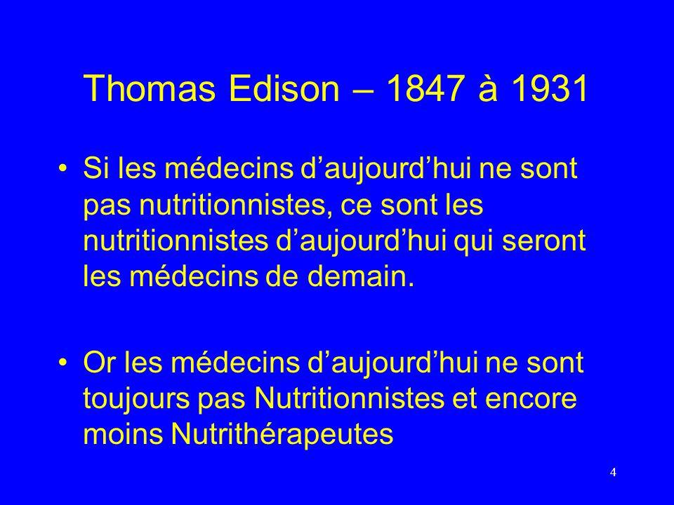 Thomas Edison – 1847 à 1931 Si les médecins daujourdhui ne sont pas nutritionnistes, ce sont les nutritionnistes daujourdhui qui seront les médecins d
