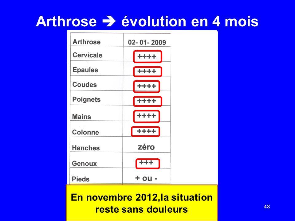 Arthrose évolution en 4 mois 48 En novembre 2012,la situation reste sans douleurs