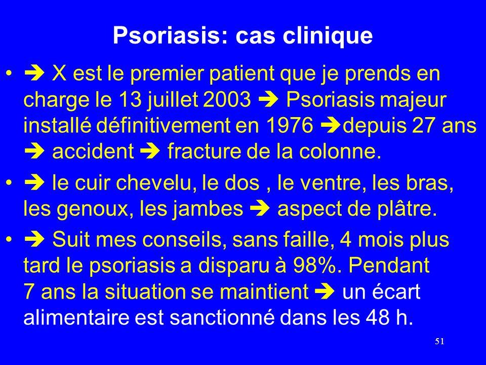 Psoriasis: cas clinique X est le premier patient que je prends en charge le 13 juillet 2003 Psoriasis majeur installé définitivement en 1976 depuis 27