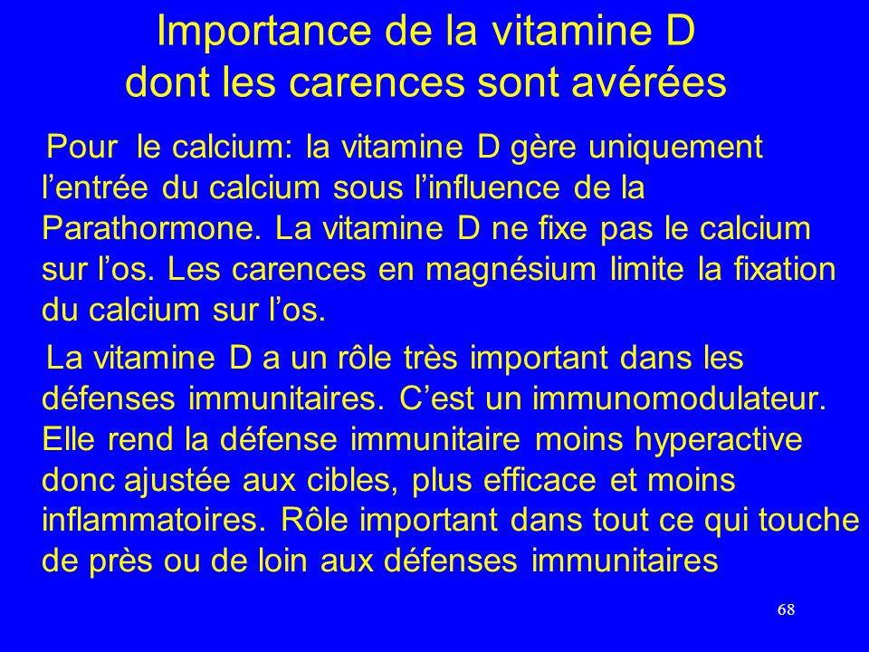 Importance de la vitamine D dont les carences sont avérées Pour le calcium: la vitamine D gère uniquement lentrée du calcium sous linfluence de la Par