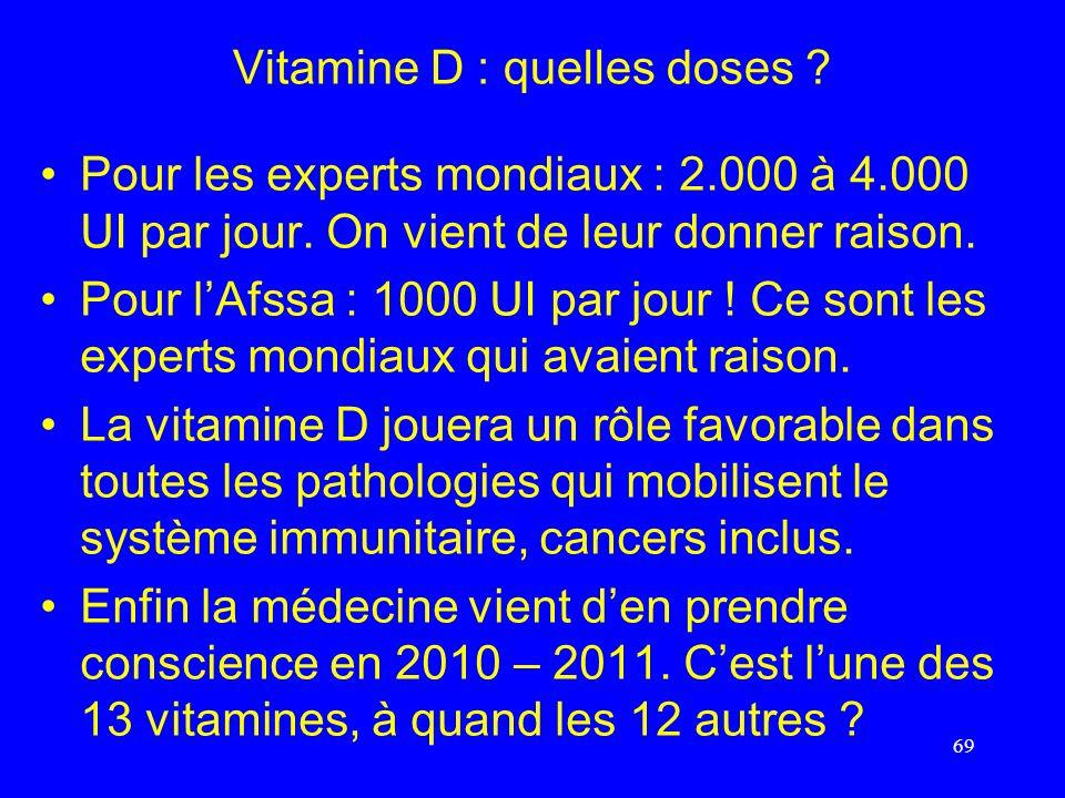 Vitamine D : quelles doses ? Pour les experts mondiaux : 2.000 à 4.000 UI par jour. On vient de leur donner raison. Pour lAfssa : 1000 UI par jour ! C